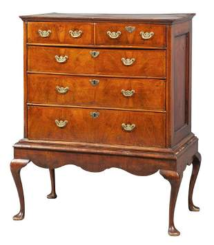 Queen Anne Inlaid Walnut Chest on Later Stand