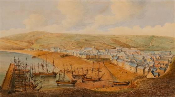 British School circa 1800 View of Whitehaven, Cumbria
