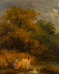 Attributed to George Morland Landscape with an Angler