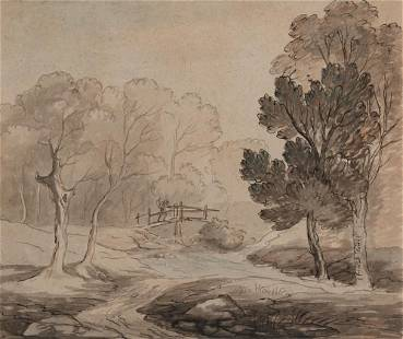 Attributed to Thomas Rowlandson Landscape with a Man