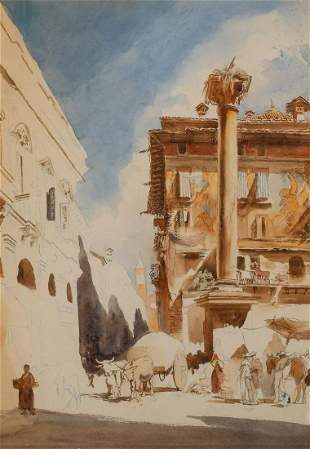 Follower of Richard Parkes Bonington The Piazza delle