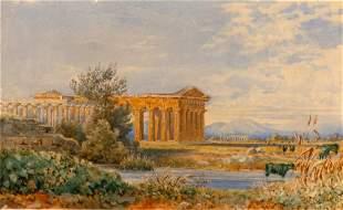British School 19th Century A View of Paestum, 1857