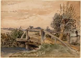 English School 19th Century A Wooden Bridge near