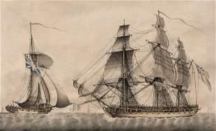 British School 19th Century Ships on Open Water