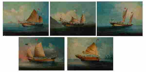 Chinese School 19th Century Sailboats in Open Water: