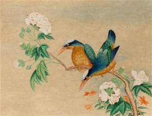Chinese School 19th Century Kingfishers on a Flowering