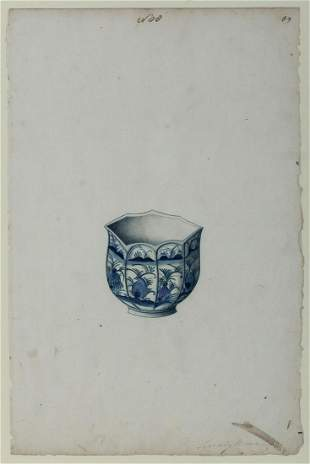 Chinese School circa 1750 Polygonal Blue and White