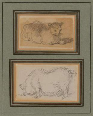 George Chinnery British, 1774-1852 Studies of a Cat and