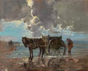 Dutch School 19th/20th Century Digging for Clams