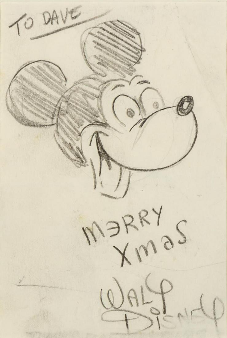 [WALT DISNEY STUDIOS] Drawing of Mickey Mouse.