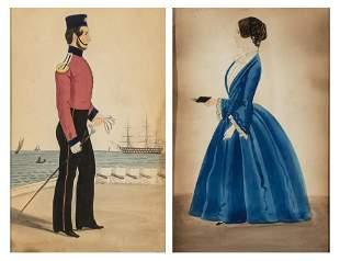 English School 19th Century Royal Marine and Lady