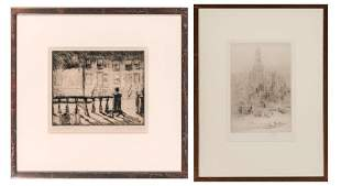 Edwin Kaufman NIGHT, BROOKLYN Drypoint; Together with
