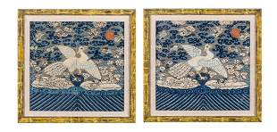 A Pair of Chinese Embroidered Silk Rank Badges