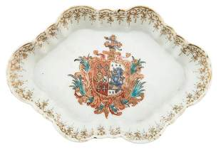 A Chinese Export Porcelain Armorial Spoon Tray