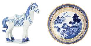 A Chinese Blue and White Porcelain Horse; Together with