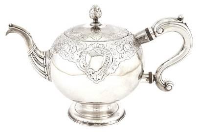 George II Scottish Sterling Silver Bullet Teapot