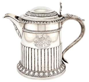 George III Sterling Silver Covered Flagon