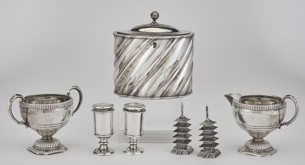 Group of Sterling Silver and Sheffield Plated Table