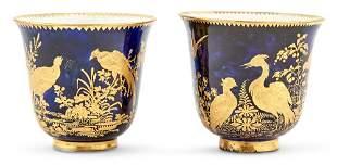 Pair of Chelsea Porcelain Mazarine-Blue Ground Cabinet