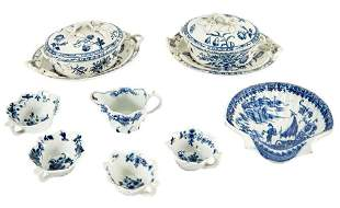Group of English Blue and White Porcelain Articles