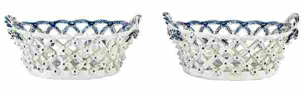 Pair of Lowestoft Blue and White Porcelain Two-Handled