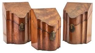 Group of Three George III Inlaid Mahogany Cutlery Boxes