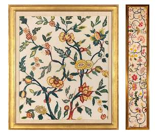 Embroided Floral Panel; Together with an English
