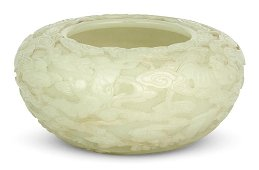 An Exceptional Chinese Carved White Jade Alms Bowl