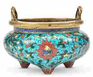 A Chinese Cloisonne Enamel Tripod Censer