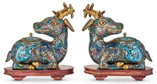 A Pair of Chinese Cloisonne Enamel Deer-form Censers