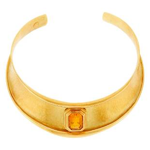Hammered Gold and Citrine Choker Necklace