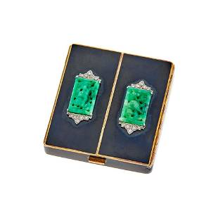 Cartier Gold, Platinum, Carved Jade and Diamond Compact