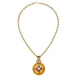 Antique Gold, Garnet and Diamond Pendant with Chain