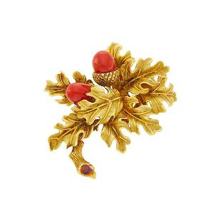 Tiffany & Co. Gold and Oxblood Coral Brooch