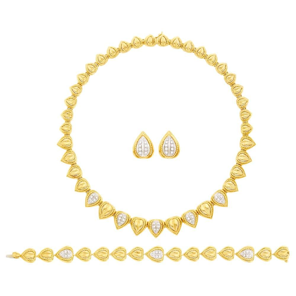 Harry Winston Suite of Two-Color Gold and Diamond