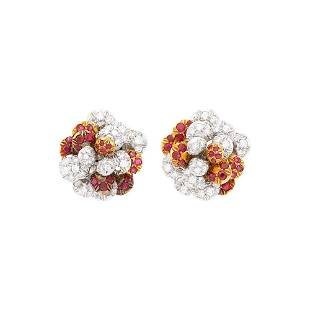 Cartier Pair of Two-Color Gold, Ruby and Diamond Flower