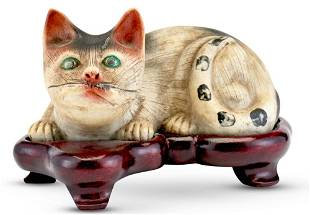 An Unusual Chinese Painted Biscuit Porcelain Cat