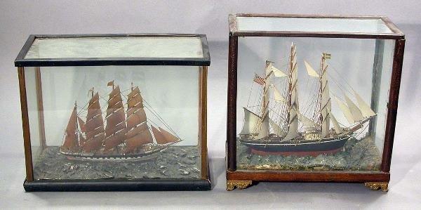 2136: Two Glass Encased Ship Models