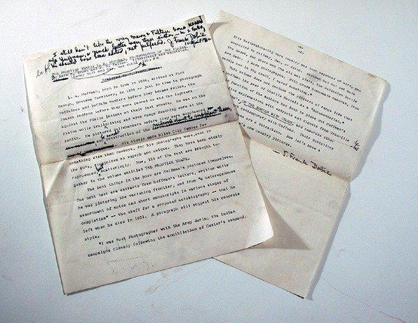 3007: DOBIE, J[AMES] FRANK Typescript signed,