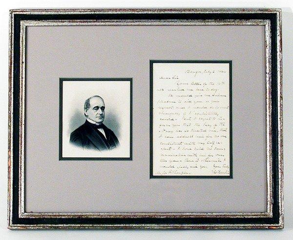 3012: HAMLIN, HANNIBAL Autograph letter signed (