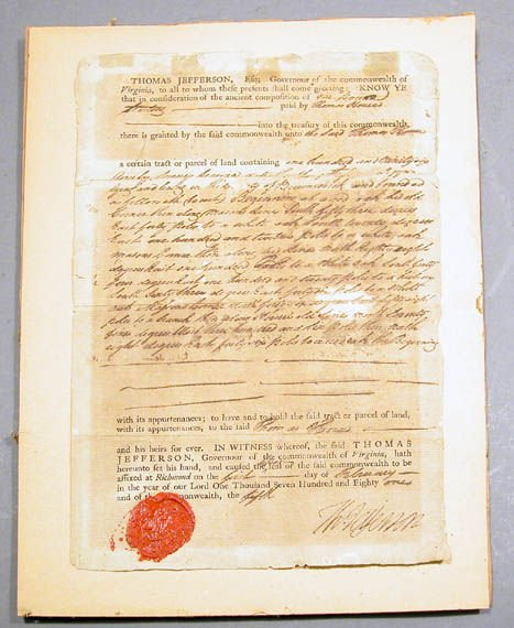 3013: Jefferson, Thomas Deed, signed, 1780, with red se