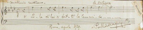 3014: MASCAGNI, PIETRO Autograph musical quotation sign