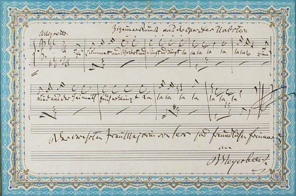 3017: MEYERBEER, GIACOMO Autograph musical quotation