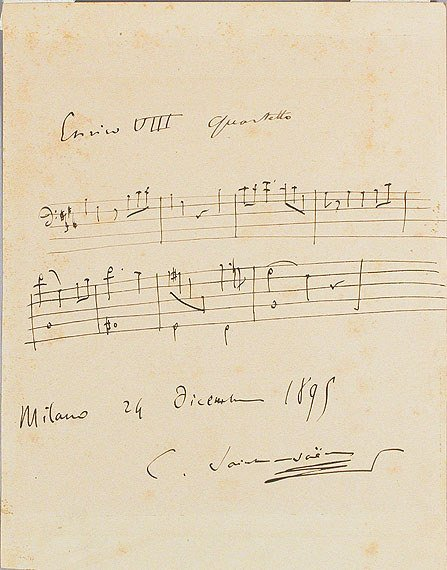3020: SAINT-SAENS, CAMILLE Autograph musical quotation