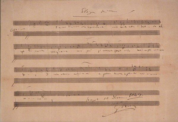 3023: VERDI, GIUSEPPE Autograph musical quotation