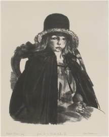 3090: George Bellows JEAN IN A BLACK HAT II Lithograph