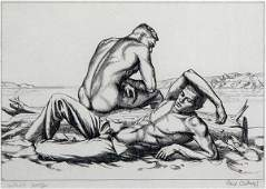 3103 Paul Cadmus TWO BOYS ON A BEACH NO 2 Etching