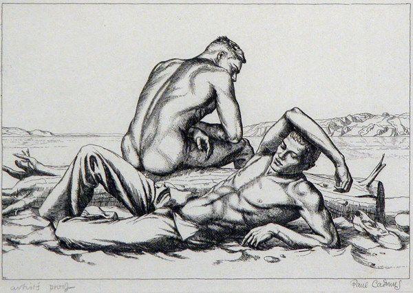 3103: Paul Cadmus TWO BOYS ON A BEACH NO. 2 Etching