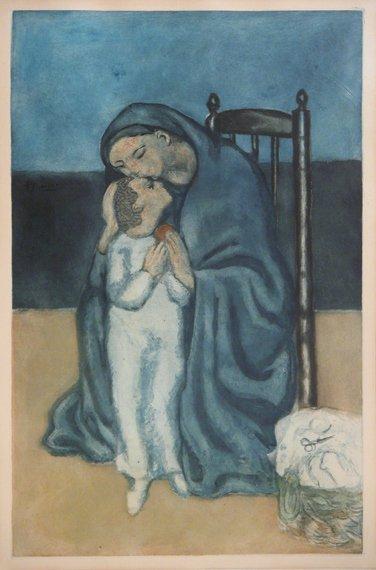 3205: After Pablo Picasso MATERNITE Color aquatint by J