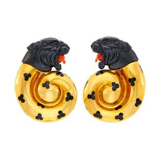 Elizabeth Gage Pair of Gold, Carved Black Onyx, Coral